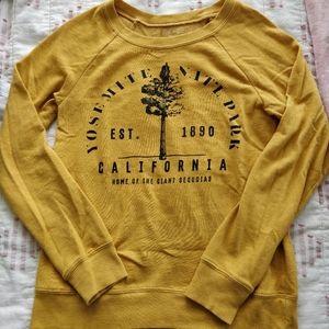 Yellow Yosemite National Park Sweatshirt, XS
